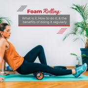 Woman foam rolls on a yoga mat after her run. Text on design reads Foam Rolling: What Is It, How to Do It, and the Benefits of Doing It Regularly. Read more at https://therookietri.com/proper-foam-rolling/