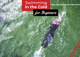 Swimmer swims in open water wearing a wetsuit. Text on design reads Swimming in Cold Water for Beginners. Read more at https://therookietri.com/swimming-in-cold-water/