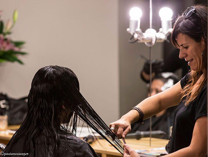 Louka cutting hair