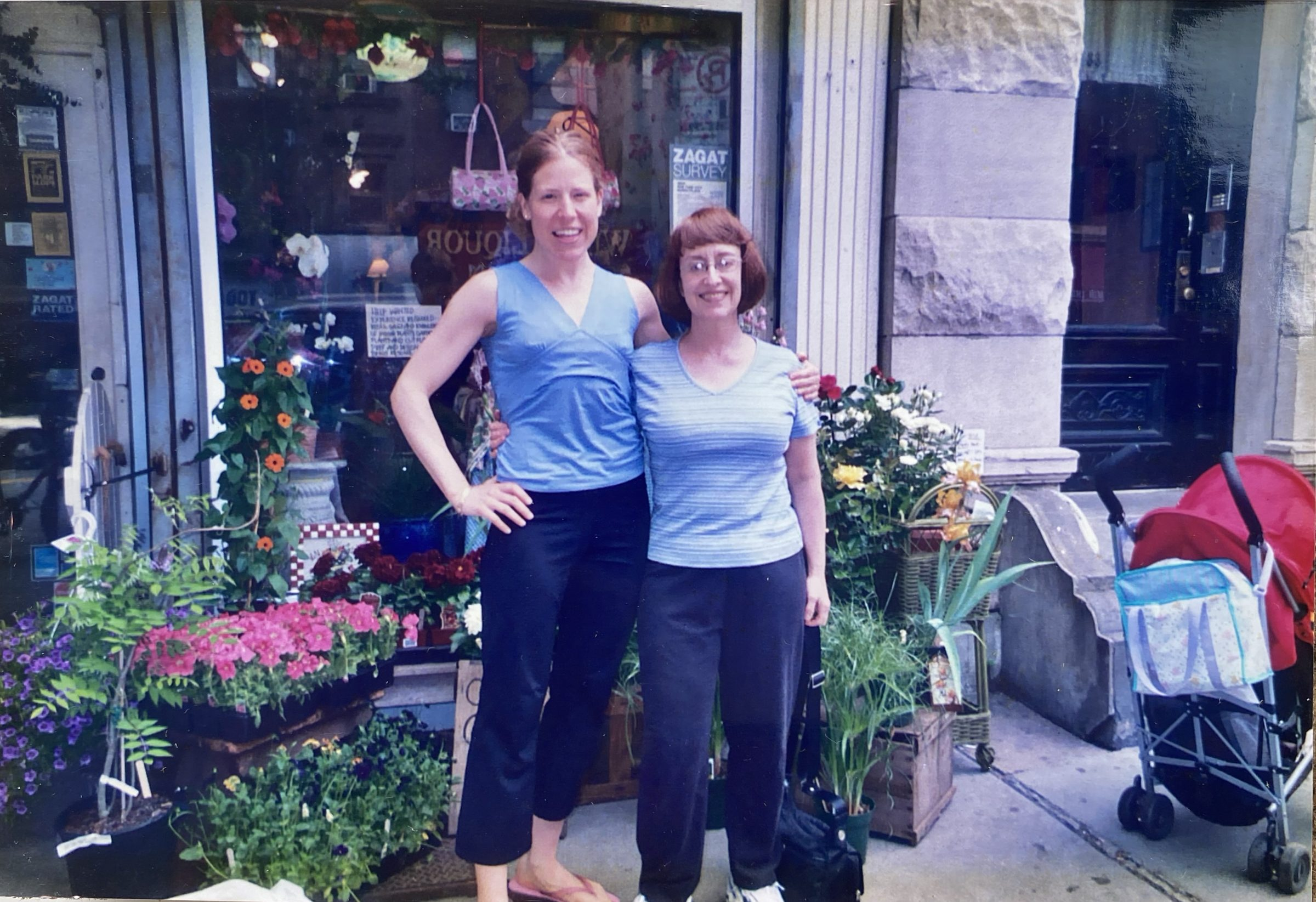Elizabeth Pongo and Carol Oliver: our very first Pongo Power Client and professional Denmother standing on 7th Avenue in Park Slope in 2007. Over the years Oliver supplies continued support to build the business.