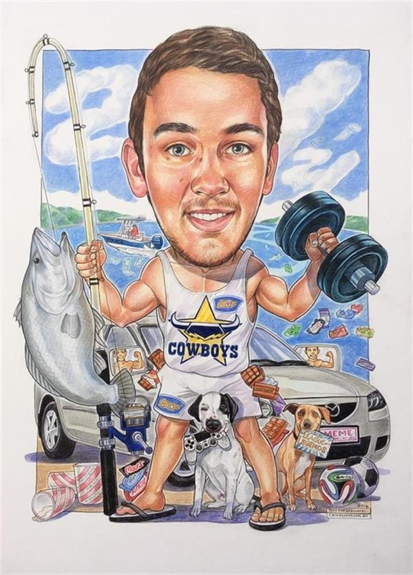 Liam's 21st birthday caricature,with his favourite doggies,boat,fishing rod