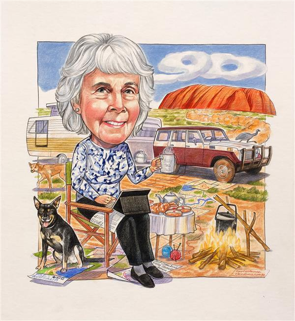 90th birthday caricature rembering the old truck, favourite place and doggie she travelled with