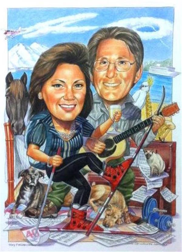 40th wedding Anniversary including all the things they love, doggies, skiing, flying,music