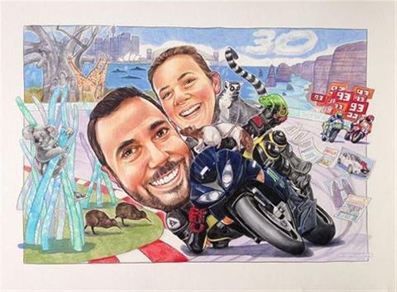 MotoGP fan and his girlfriend elbow down