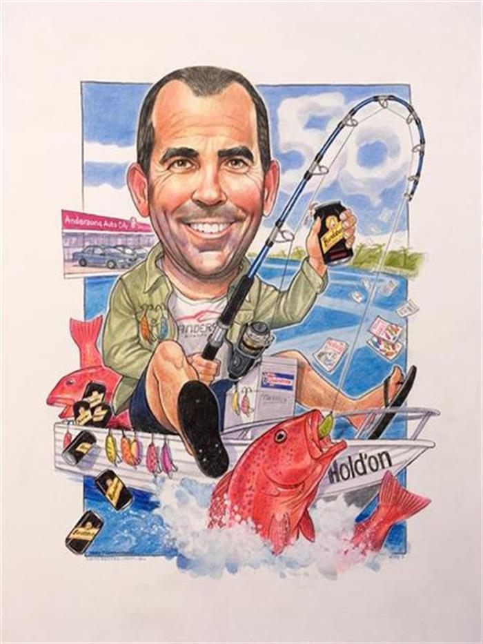 Legendary fisherman birthday caricature