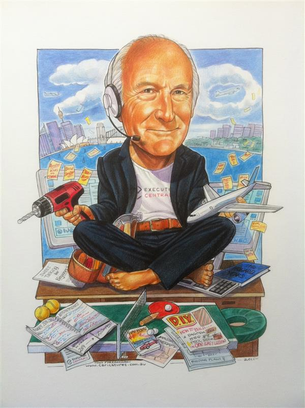Executive Central 70th birthday business caricature