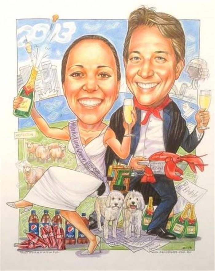 amous Chef and socialite wedding caricature