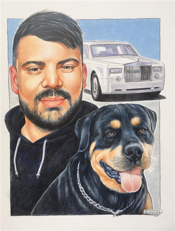 Jamahl and his faithful dog 'Chucky' caricature