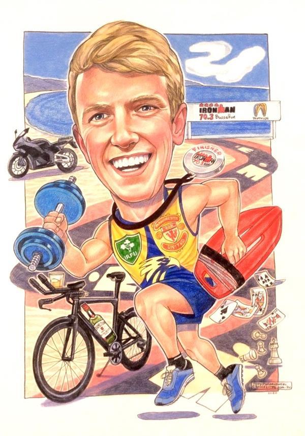 David's 21st birthday caricature. Ace triathlete and lifesaver