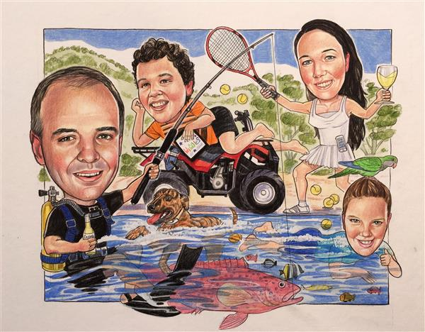 Family caricature with kids and doggies splashing around