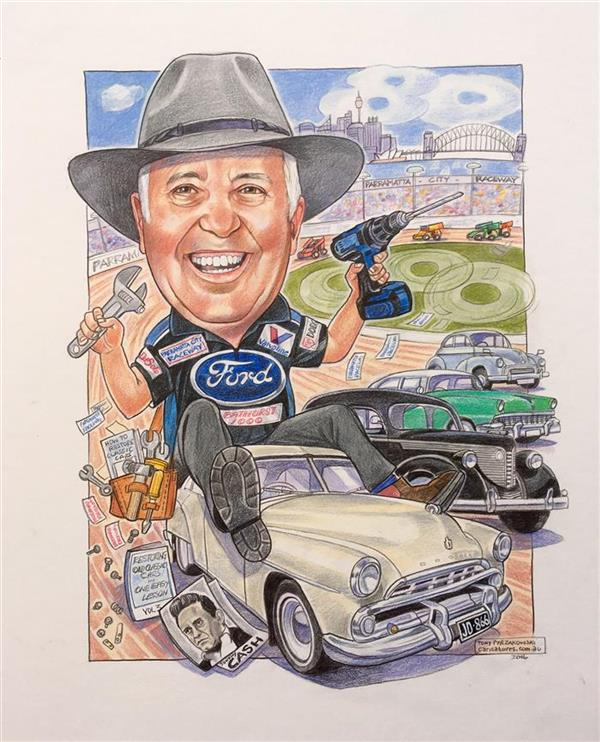 Ford man and his favourite cars on the parramatta spedway.