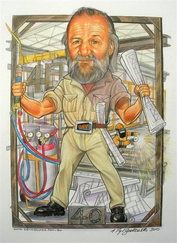 40 years with GAY steel production caricature