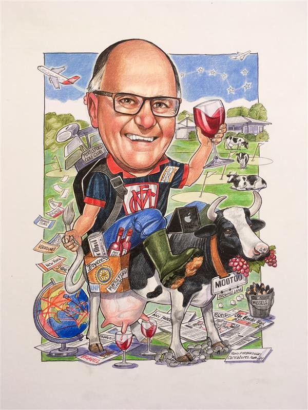 Legendary Dairy man and vigneron birthday caricature
