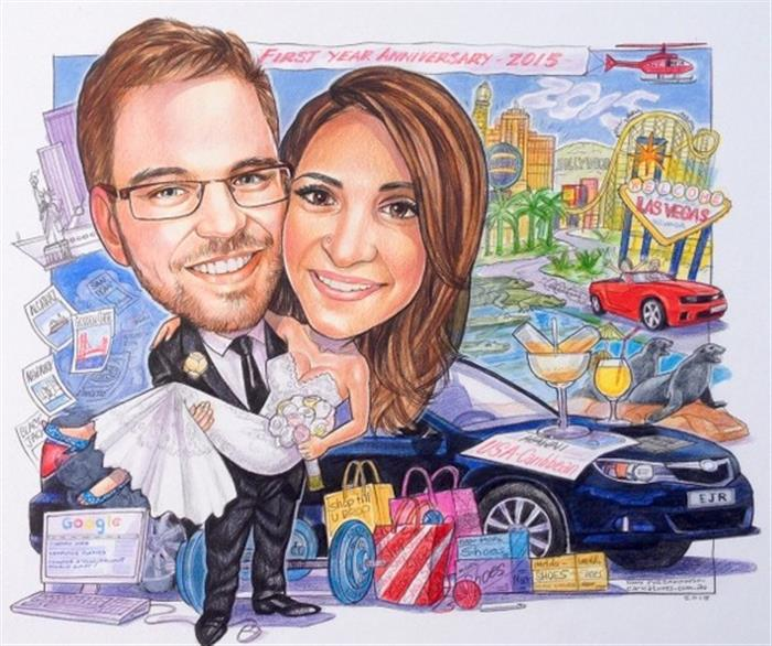 THE best wedding in Las Vegas, wedding caricature