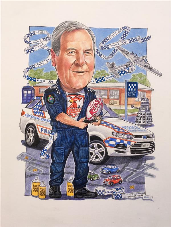 Legendary Police inspector retirement caricature
