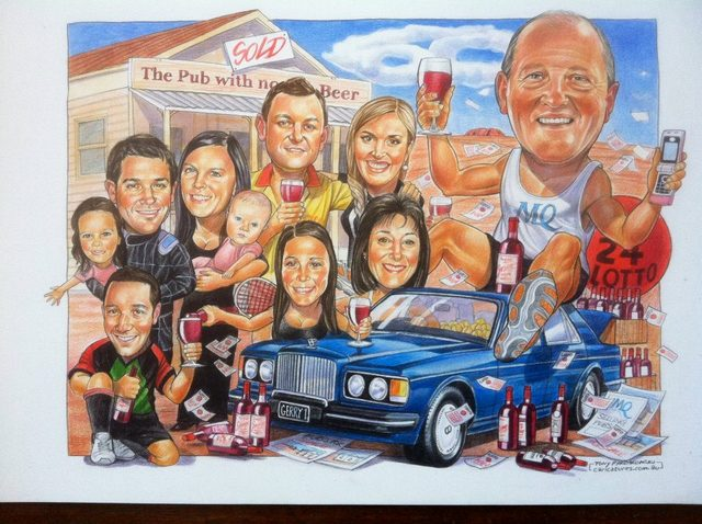 Lotto Man Family Group Caricature