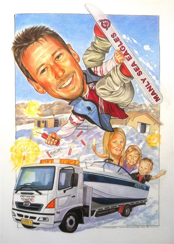 Birthday gift for Network Towing caricature