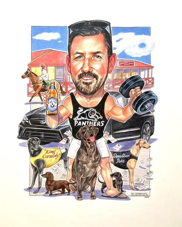 Birthday caricature for Shaun, Panther's fan with his dogs and racehorse