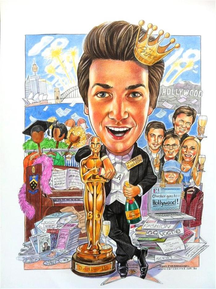 He'll win an Oscar one day. Special 18th birthday caricature