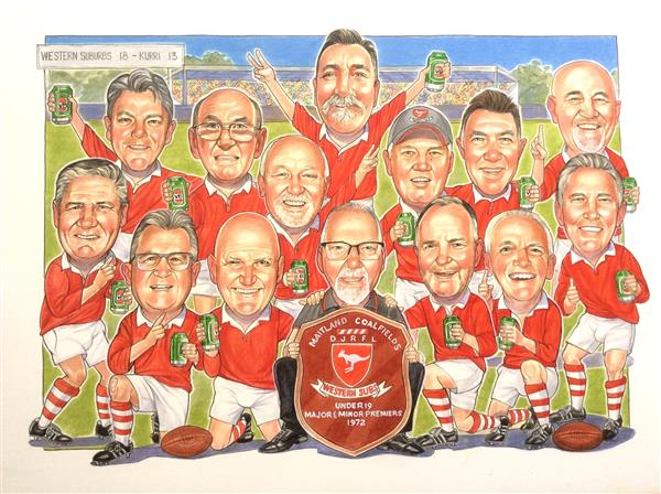 Group caricature 1972 champions reunion