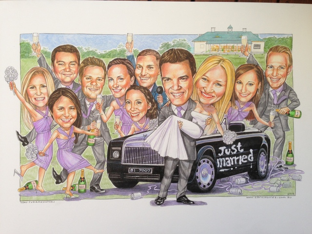 Wedding Party Group Caricature