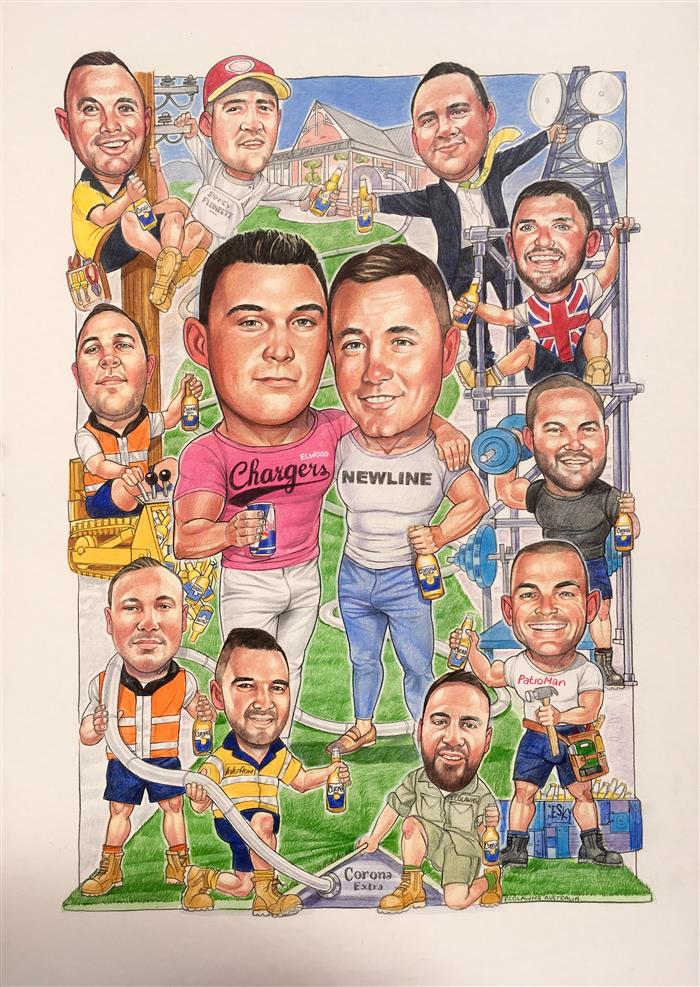 Tom, James and the boys birthday caricature
