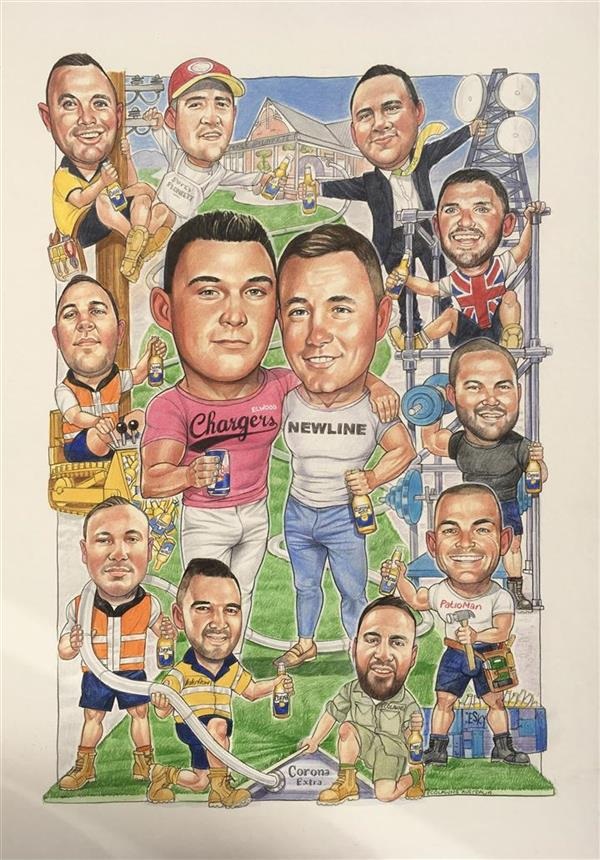 Tom's birthday caricature showing him with his best mates