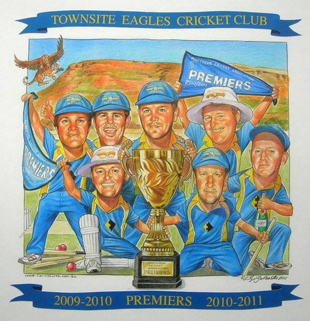 Townsite Eagles Cricket Club Group Caricature