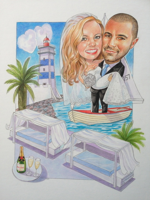 Sailors Wedding Caricature