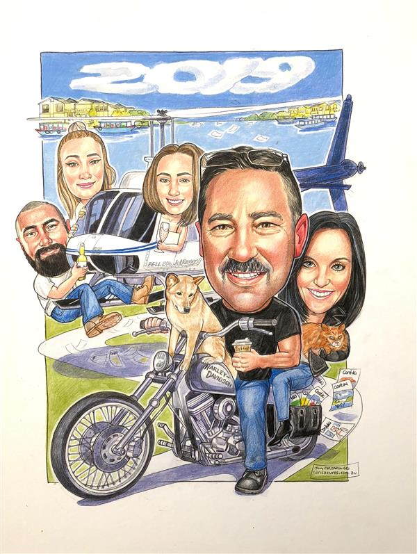 Pete, Bell Helicopter Ace , his Harley and family