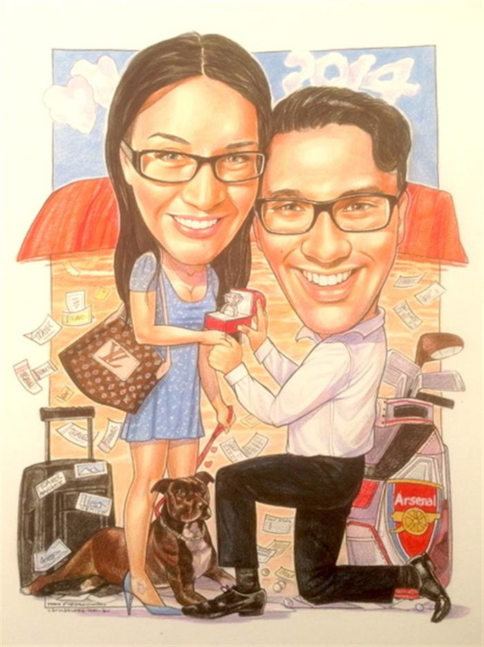 Special engagement surprise in Uluru wedding caricature