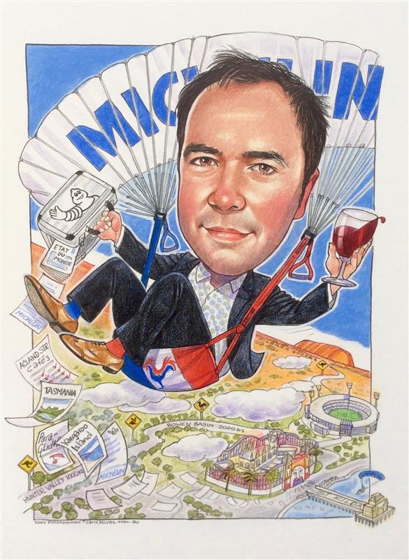 Michelin executive leaving gift caricature