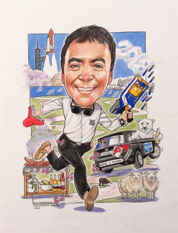 Hasbro executive farewell gift caricature