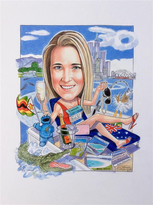 Leaving gift caricature