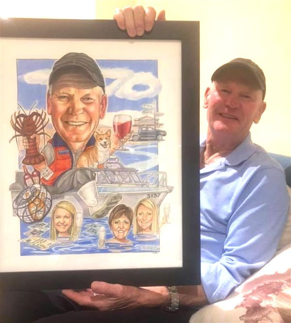 Len's 70th birthday caricature. Crayfisherman and amazing dad