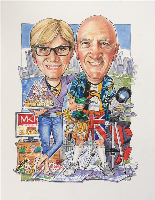 60th and 70th birthday caricature of Mum and dad showing them surrounded by the things they love best...and each other