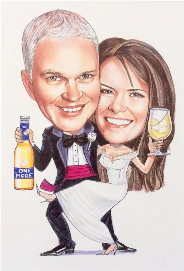 Wedding caricature for stubby holders for all the guests