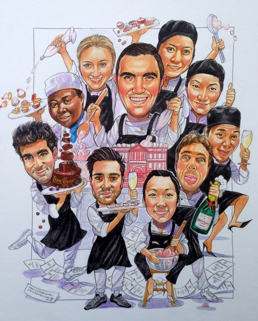 Intercontinental Hotel Pastry Chefs Caricature
