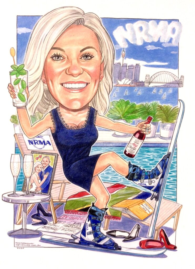 farewell gift caricature