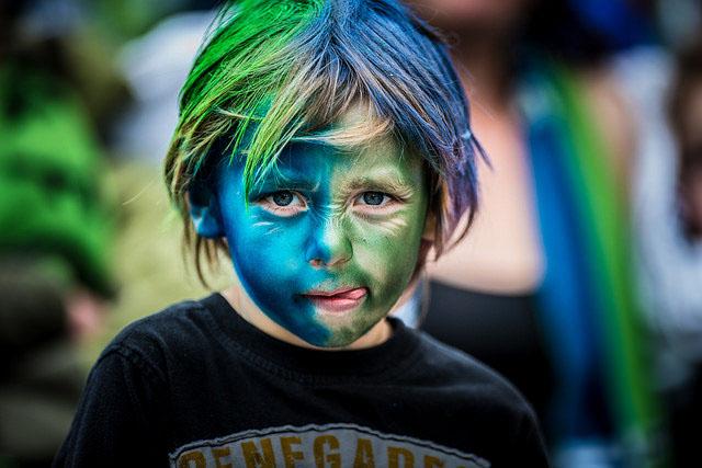 boy w sounders hawks face paint
