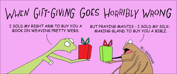 Praying mantis gift giving