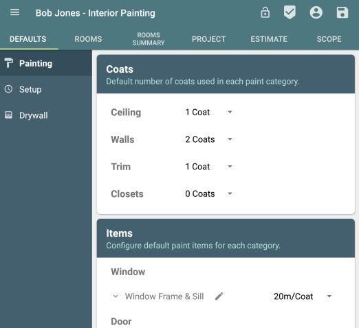 Painting Estimate App - Room Defaults
