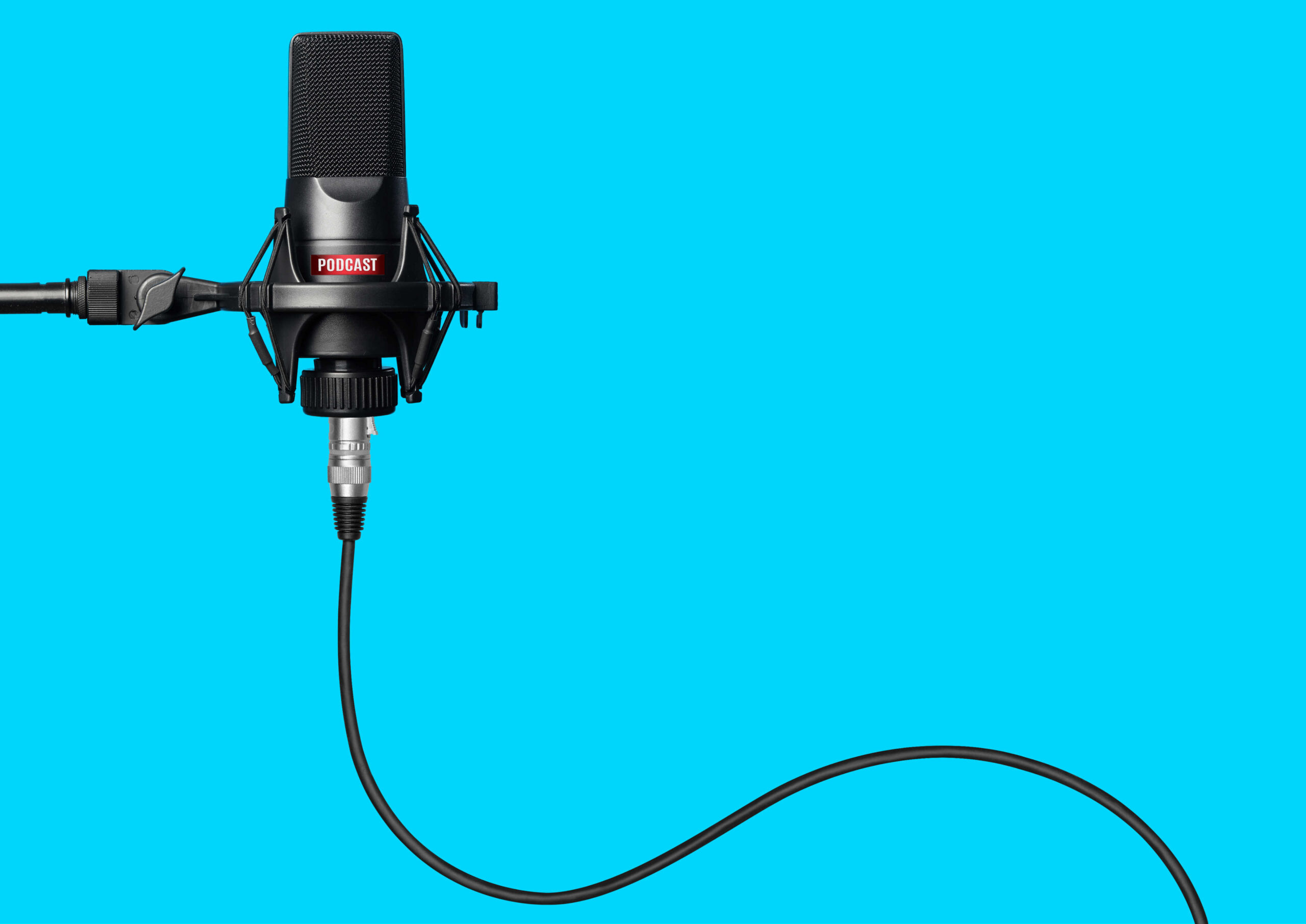 Podcast mic and blue background IBLP