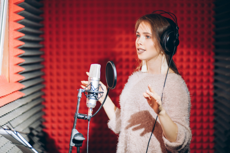 Female in Recording Studio Recording Voice Over IBLP