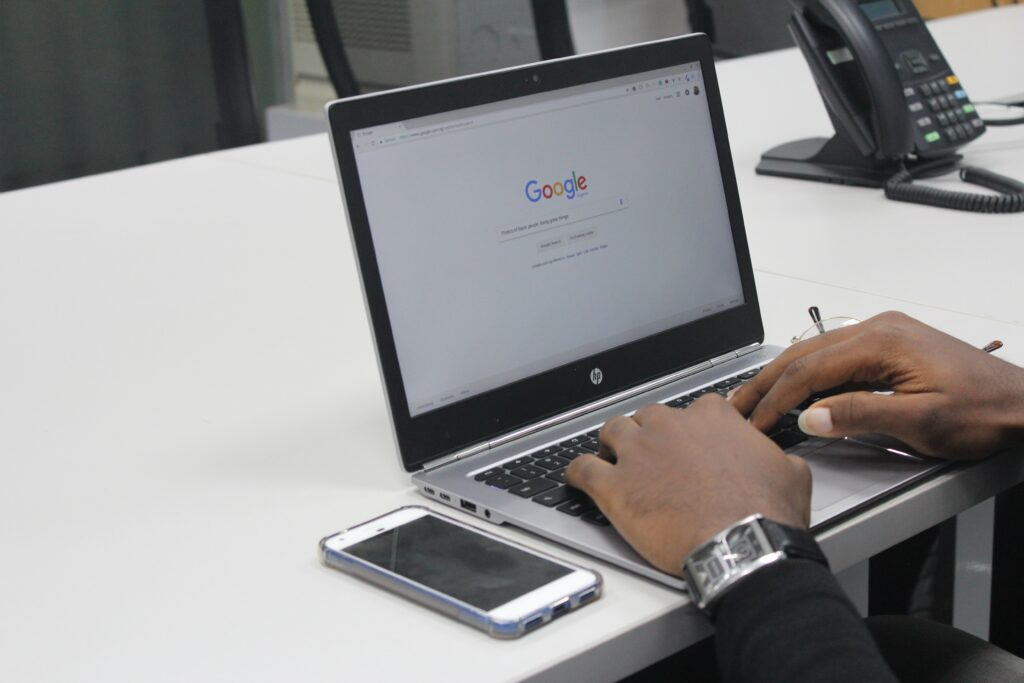 A computer showing a Google SERP