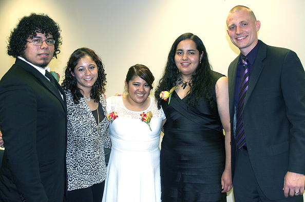 2014 Scholarship Recipients: From left to right: Fernando Gomez, Central Community College Lorena Salas, Northwest Iowa Community College Yessica Aleman, Metropolitan Community College Daisy Beltran, Southeast Community College Not pictured, Jackeline Lopez, Central Community College. At the 2014 True Potential Fundraising Dinner with attorney Ross Pesek.