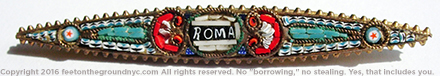 "Glass mosaic pin, brass or cheap metal base, ""Grand Tour"" tourist souvenir circa 1900–1920, says ""Roma,"" probably actually made in Italy."