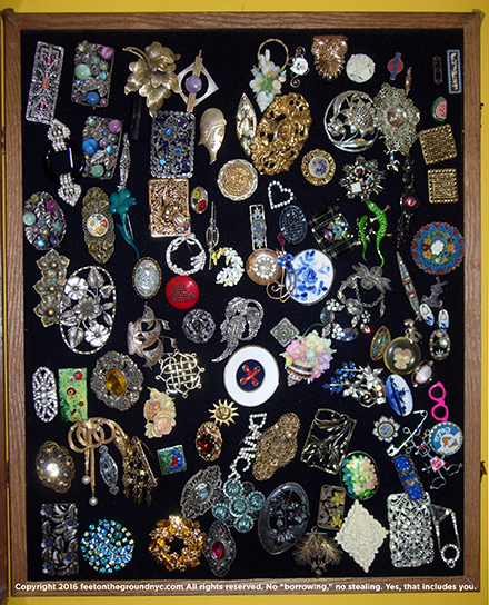 Author's collection of costume jewelry pins, circa 1900–1950, most purchased for less than $10.
