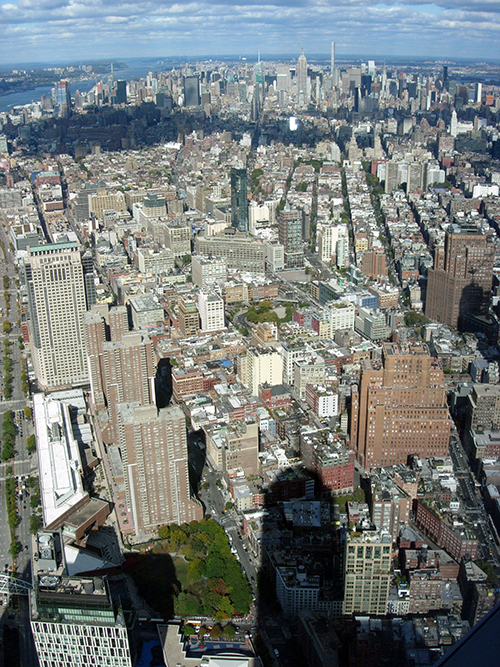 View north from from One World Observatory, encompassing Manhattan, New Jersey, Yonkers, Bronx and Queens, October 2015, Janice Carapellucci, World Trade Center, New York, New York. ©2015 Janice Carapellucci. All rights reserved.