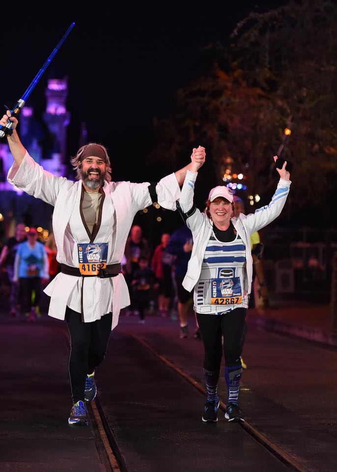 Tom and Michelle running in the Star Wars 5K at Disneyland